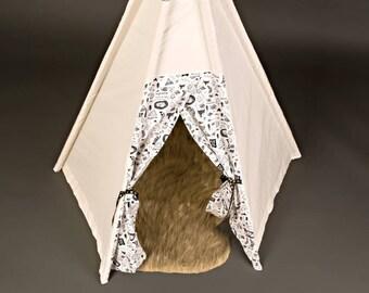 Kids Teepee Set - 6' tall - Indoor/outdoor teepee tent - imagination toy, Christmas gift
