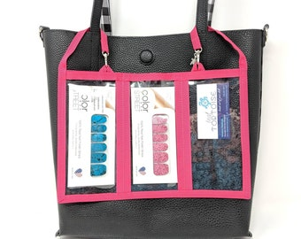 """6-Pocket Holder - 12""""w x 8""""h - Double-sided Holder - Color Street Holder, Business Tool, attach to tote bag"""