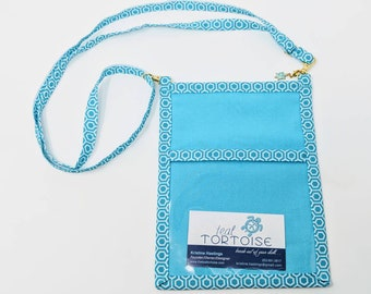 Lanyard Pouch Turquoise/Hex - adjustable - 4-way Hip Sling - fanny pack, crossbody, lanyard and over the shoulder