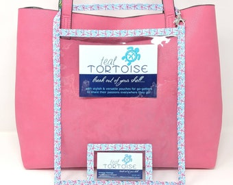 "Large Catalog Holder - 11""x9"" - Catalog Holder - Clear Catalog Pouch with Business Card pocket and strap"