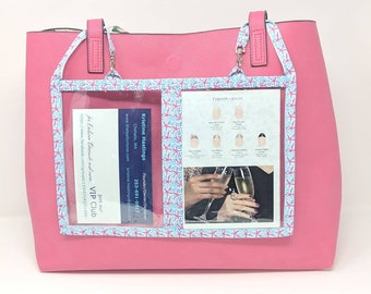 "3-Pocket Holder - 12""w x 8""h - Double-sided Holder - Restyled Color Street Holder, Business Tool, attach to tote bag"