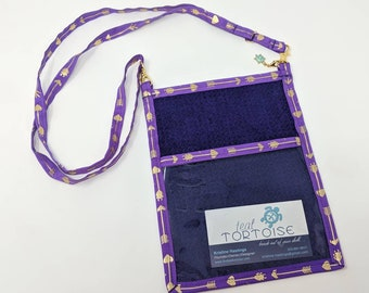 Lanyard Pouch Plum/Houndstooth/Arrows - adjustable - 4-way Hip Sling - fanny pack, crossbody, lanyard and over the shoulder