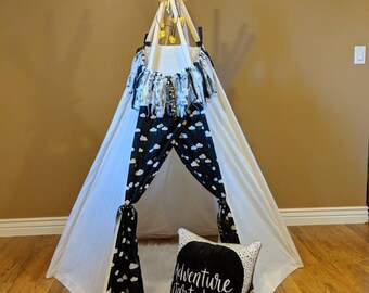 Kids Teepee Set - 6' tall - Indoor teepee tent - imagination toy, Christmas gift, teepee set includes lights, rug, pillow and garland