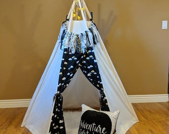 Kids Teepee Set - 6' tall - Indoor teepee tent - imagination toy, Christmas gift, teepee set includes lights, rug, garland & bag
