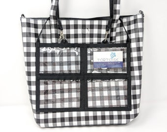 "8 Pocket Holder - 12"" x 8"" - Double-sided - Clear Pouch with 2 small straps"