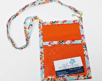 Lanyard Pouch Orange/Geometric/Floral - adjustable - 4-way Hip Sling - fanny pack, crossbody, lanyard and over the shoulder