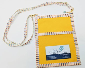 Lanyard Pouch Yellow/Quatrefoil/Dots - adjustable - 4-way Hip Sling - fanny pack, crossbody, lanyard and over the shoulder