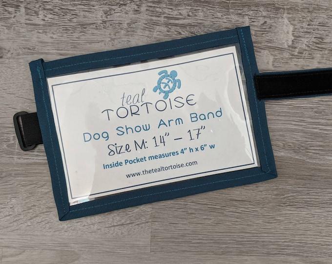 Featured listing image: Dog Show Armband- Adjustable Hook & Loop Armband- Dog Show number holder with bait pocket on back