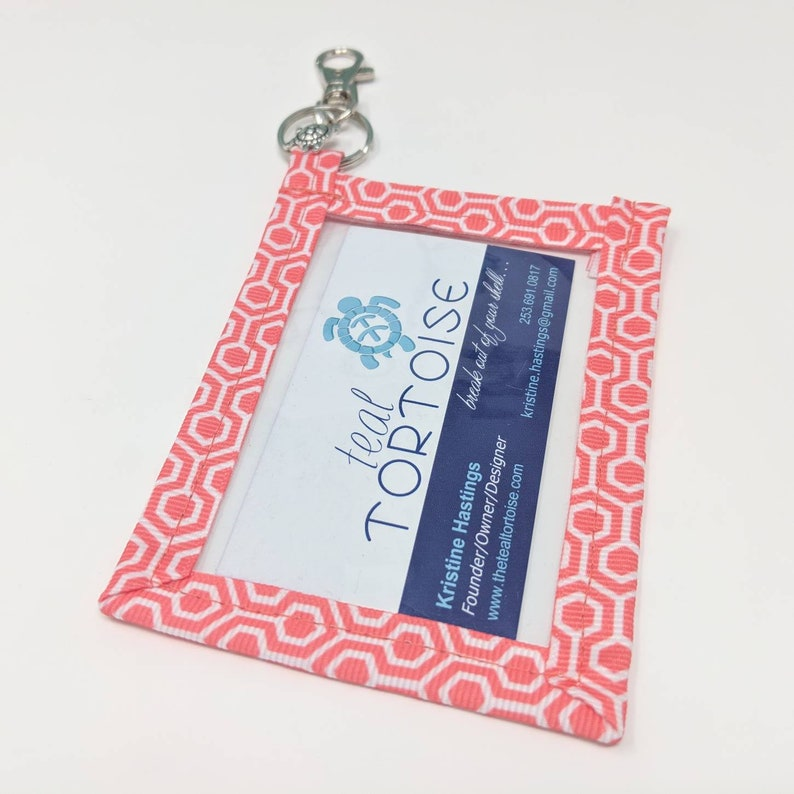 Standard size Keyring Business Card Holder Clear Pouch in Vertical or Landscape on Key Ring Business Card Case