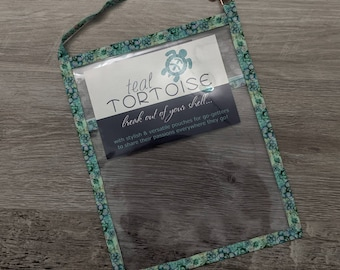 """Small Catalog Holder - 9""""x7"""" - Catalog Holder - Clear Catalog Pouch with Strap and Business Card Pocket"""