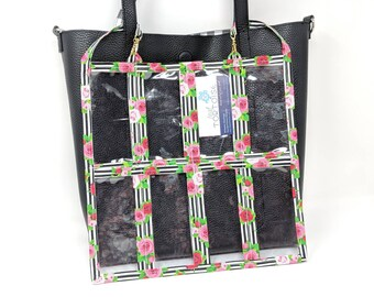 """16 Pocket Organizer - 12"""" x 12"""" - Double-sided - Clear Pouch with 2 small straps"""
