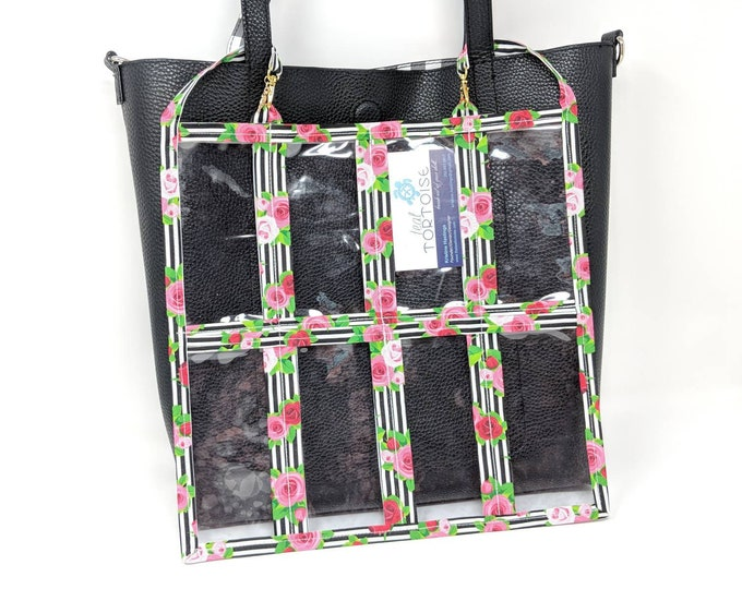 """Featured listing image: 16 Pocket Organizer - 12"""" x 12"""" - Double-sided - Clear Pouch with 2 small straps"""