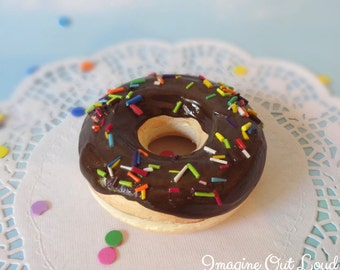 Fake Donut Doughnut Glazed Chocolate Frosting with Sprinkles DECOR Fake Cake Kitchen Decor Display