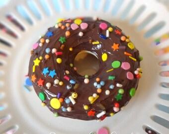 Fake Donut Doughnut Glazed Chocolate Frosting with Party Sprinkles DECOR Fake Cake Kitchen Decor Display