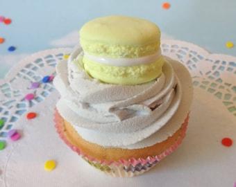 LAST ONE Fake Cupcake Handmade Lemon Yellow Macaron Decor Fake Food Kitchen Display