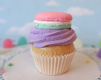 Fake Cupcake Handmade Cotton Candy Macaron Purple Decor Fake Food Kitchen Display