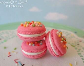 Faux Macaron Set Pink with Sprinkles Birthday Celebration Fake Food Kitchen Prop