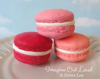 FAUX MACARON Set Valentine's Day Pink Red