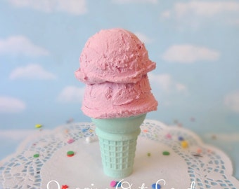Fake Ice Cream Double Scoop Strawberry on Aqua Cone Hand Painted Food Photo Prop Gift Decor