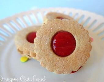 Fake Cookies Cherry Red Circle Sandwich Linzer Tart Set of 3