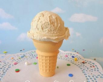 Fake Ice Cream Vanilla Realistic Faux Scoop Cake Cone Prop Decor