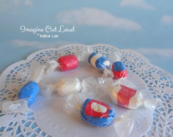 Fake Candy Faux Candies Patriotic Salt Water Taffy Bowl Fillers Display Food Prop Decor