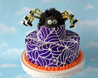 Faux Cake Fake Halloween Dancing Spider Spiderweb Prop Two Tier Centerpiece READY TO SHIP