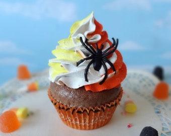 Fake Cupcake Halloween Candy Corn Swirl Glitter Spider Trick or Treat Display Decor
