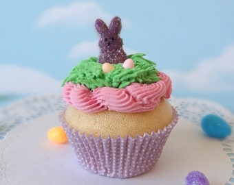 Fake Cupcake Handmade Easter Spring Faux Candy Eggs Rabbit Home Decor