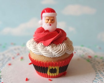 Fake Cupcake Realistic Christmas Holiday SANTA head  Faux