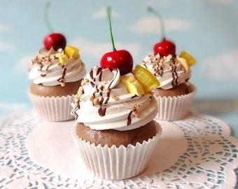 Fake Cupcake Handmade Banana Split Cupcake with Whipped Cream, Banana, Pineapple and Cherry on top Kitchen Decor food Prop Display