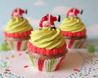 Fake Cupcake Realistic Christmas Holiday SANTA Lime Acrobatic Whimsical