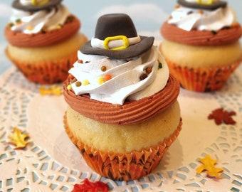 Fake Cupcake SINGLE  Thanksgiving Pilgrim Hat Fondant Fall Autumn Decor Centerpiece