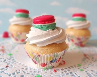 Fake Cupcake Realistic Christmas Holiday Red Green Macaron