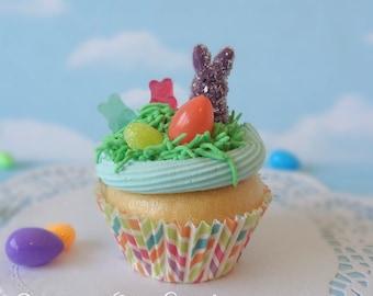Fake Cupcake Handmade Easter Spring Faux Gummy Candy Eggs Rabbit Home Decor