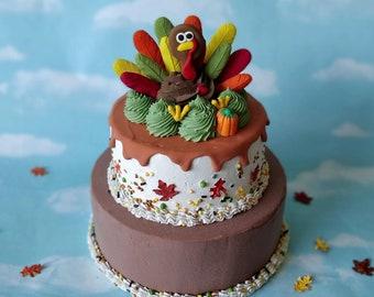 Fake Cake Centerpiece Faux Thanksgiving Turkey Autumn Two Tier Decor OOAK