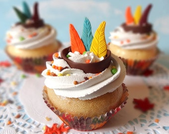 Fake Cupcake Thanksgiving Native American Indian Feathers Fondant Fall Autumn Decor Centerpiece