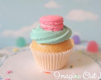 Fake Cupcake Handmade Aqua Pink Macaron Decor Fake Food Kitchen Display