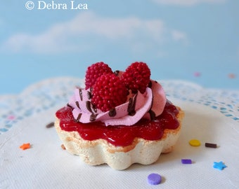Fake Cake Tart Tartelette Mini Dessert Pink Raspberry Chocolate  SINGLE