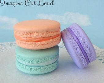 "Fake Macarons 2"" Set Faux Macaron Light Orange Purple Aqua Artificial Food Cookie Prop"