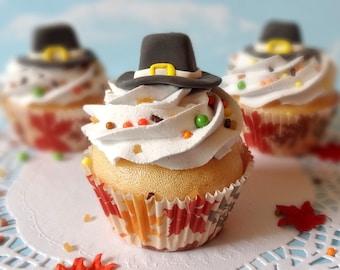 Fake Cupcake Thanksgiving Pilgrim Hat Fondant Handmade Sprinkles Fall Autumn Decor Centerpiece