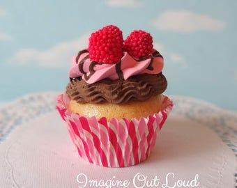 Fake Cupcake Faux Valentine's Day Chocolate Raspberry