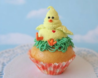 Fake Cupcake Spring Easter with Piped Yellow Chick