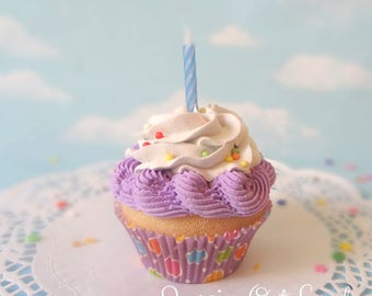 Fake Cupcake Handmade Happy Purple Party Dots with Candle