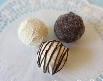 FAUX Fake Chocolate Truffle set Sprinkles REALISTIC Kitchen Decor Display