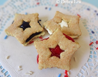 Fake Cookies Patriotic Red White and Blue Strawberry Cherry Sandwich Linzer Star Set of 3