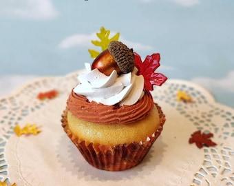 Fake Cupcake SINGLE Thanksgiving Acorn Faux Dessert Decoration Kitchen Decor