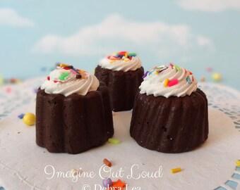 FAUX Mini Bundt Petit Four Fake Cakes English Tea Party Food Prop Photo Kitchen Decor Display