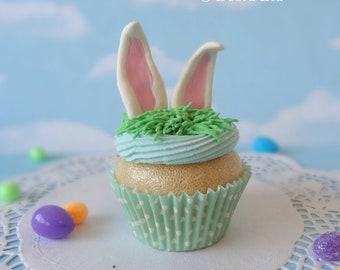 Fake Cupcake Handmade Easter Spring Faux Vanilla Fondant Bunny Rabbit Ears Home Decor