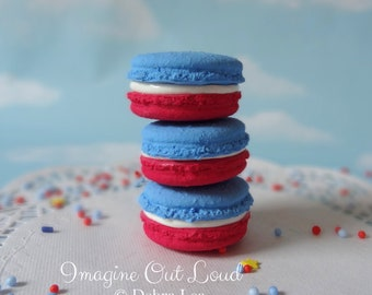 FAUX MACARON Set Patriotic Red White and Blue